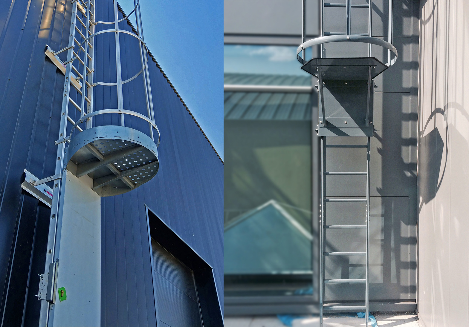 porte de condamnation et panneau pivotant pour échelle à crinoline alu