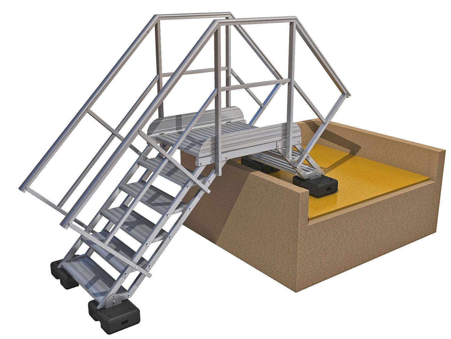 escalier double accès aluminium 2 marches 5 marches