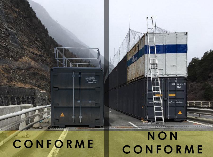 garde corps rabattable acier pour container ou conteneur